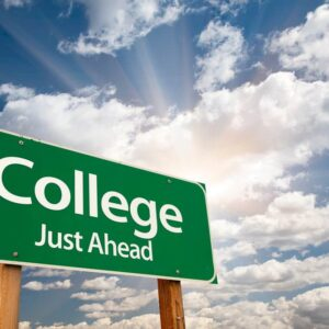 green road sign that reads College just ahead